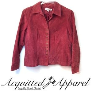 Napa Valley Leather Button Up Suede Jacket Pink